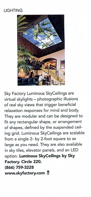 Sky Factory featured in Buildings Magazine August 2011