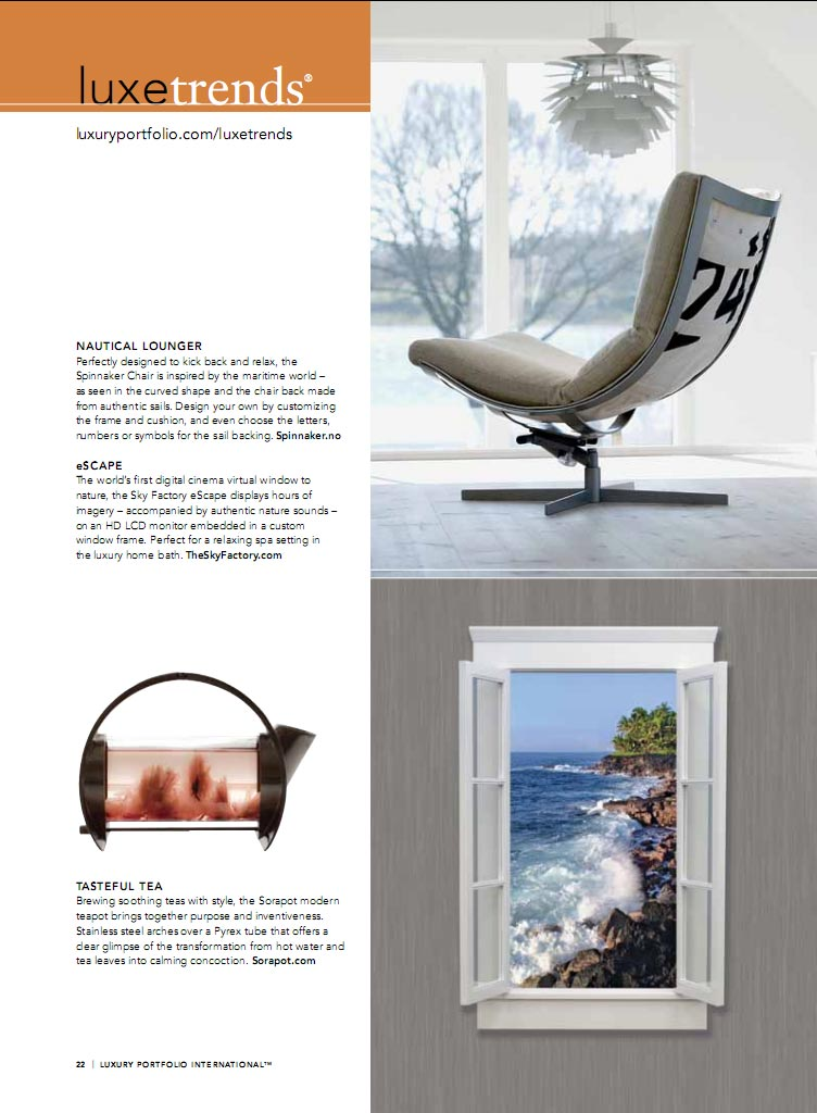 eScape article in Luxury Products Magazine, Spring 2011 edition